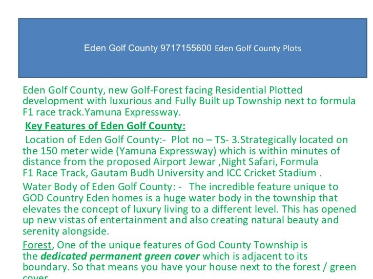 Eden Golf County 9717155600  Eden Golf County Plots Eden Golf County, new Golf-Forest facing Residential Plotted developme...