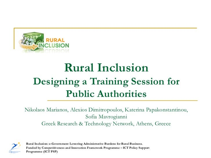 Rural Inclusion: Designing a training session for public authorities