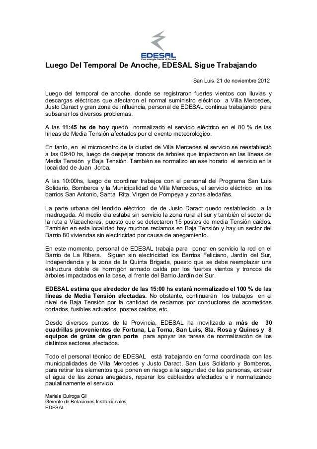 Luego Del Temporal De Anoche, EDESAL Sigue Trabajando                                                        San Luis, 21 ...