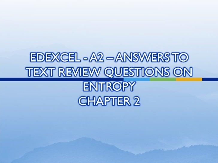 Edexcel A2 Entropy review questions