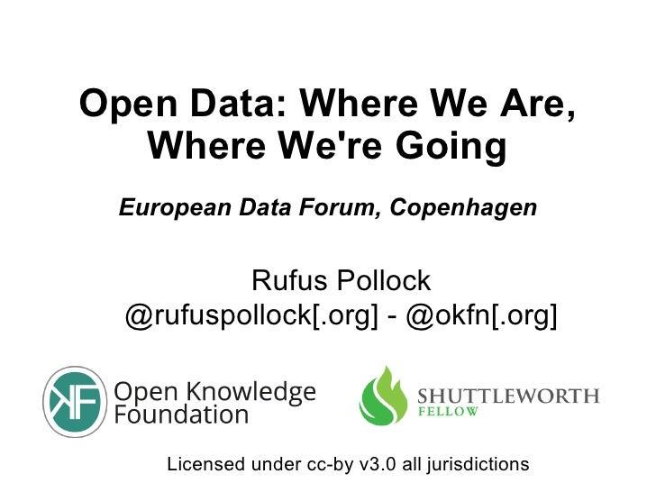 Open Data: Where We Are,   Where Were Going European Data Forum, Copenhagen          Rufus Pollock  @rufuspollock[.org] - ...