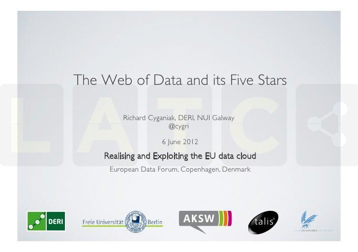 The Web of Data and its Five Stars          Richard Cyganiak, DERI, NUI Galway                        @cygri            ...
