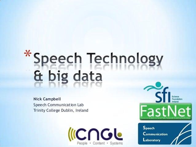 EDF2013: Data Science Curriculum: Nick Campbell: Speech Technology & big data