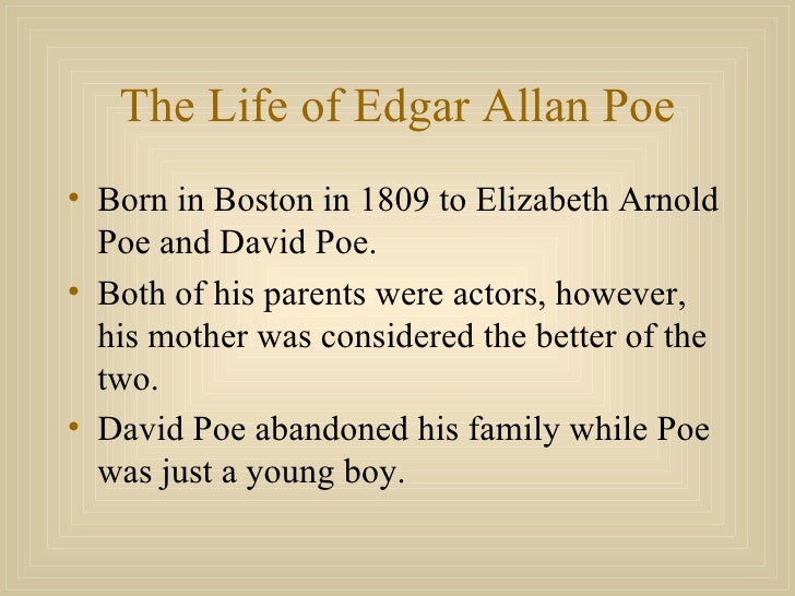 biography on edgar allan poe essay Check out a free essay example about edgar allan poe's life from a writer biography and the writer's path of alan poe edgar poe was one of the three.