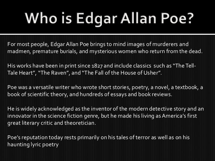 """the influence of edgar allan poes life on his fall of house of usher The man under the influence of his changing  edgar allan """"the fall of the house of  edgar allan poe, """"the fall of the house of usher,"""" an."""