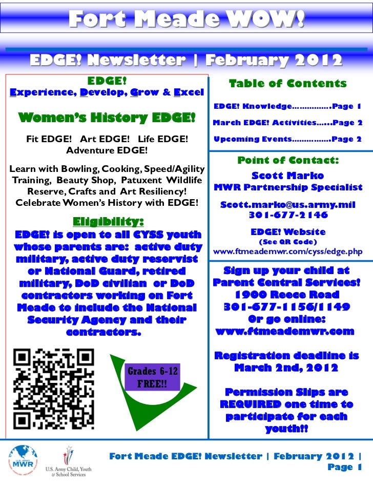 Fort Meade WOW!   EDGE! Newsletter | February 2012               EDGE!                      Table of ContentsExperience, D...