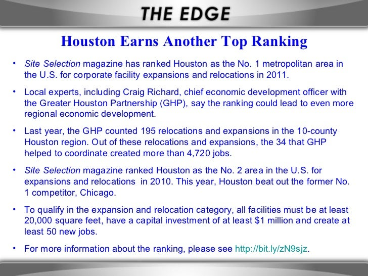 Houston Earns Another Top Ranking• Site Selection magazine has ranked Houston as the No. 1 metropolitan area in  the U.S. ...