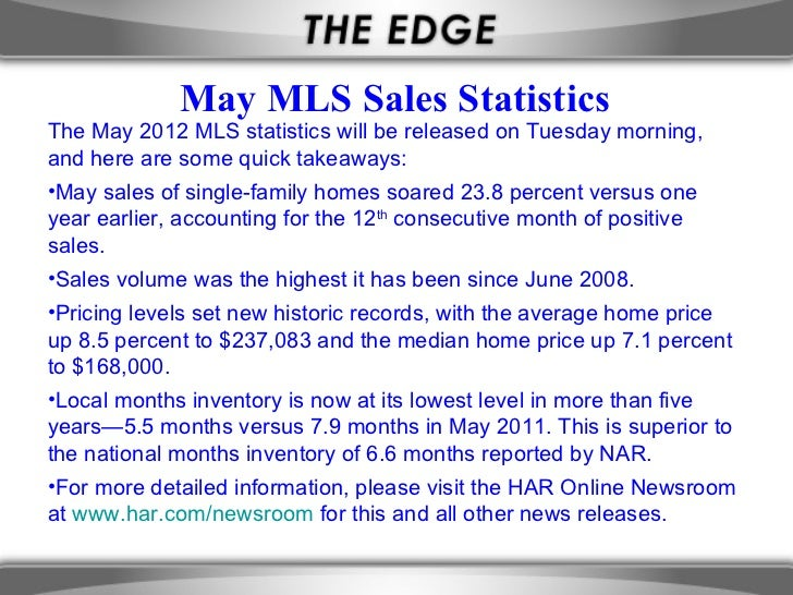 May MLS Sales StatisticsThe May 2012 MLS statistics will be released on Tuesday morning,and here are some quick takeaways:...