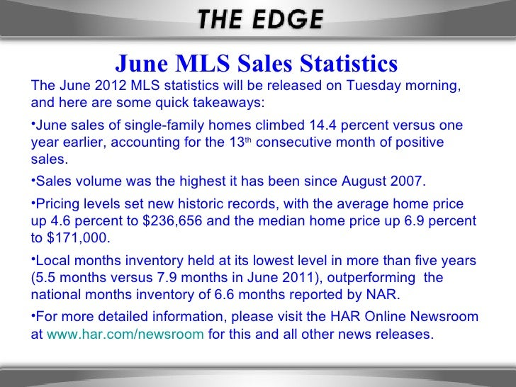 June MLS Sales StatisticsThe June 2012 MLS statistics will be released on Tuesday morning,and here are some quick takeaway...
