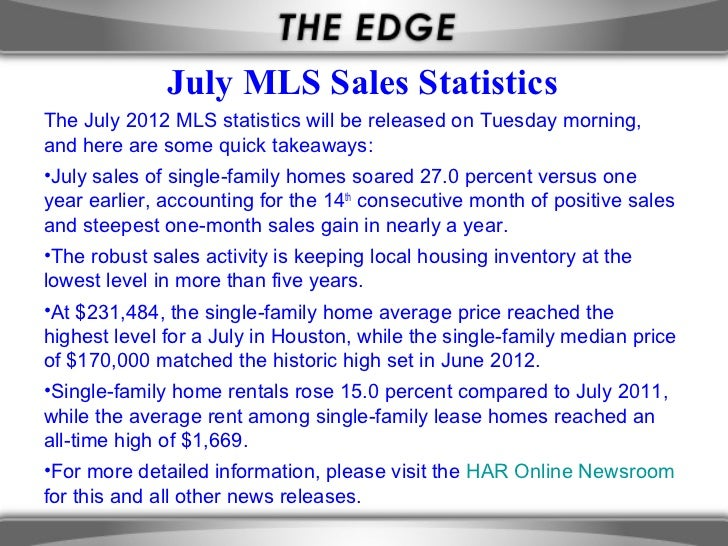 July MLS Sales StatisticsThe July 2012 MLS statistics will be released on Tuesday morning,and here are some quick takeaway...