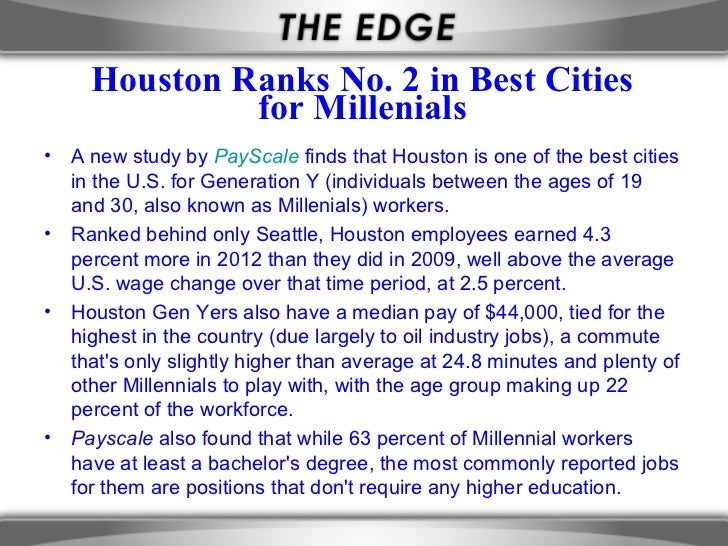 Houston Ranks No. 2 in Best Cities               for Millenials•   A new study by PayScale finds that Houston is one of th...