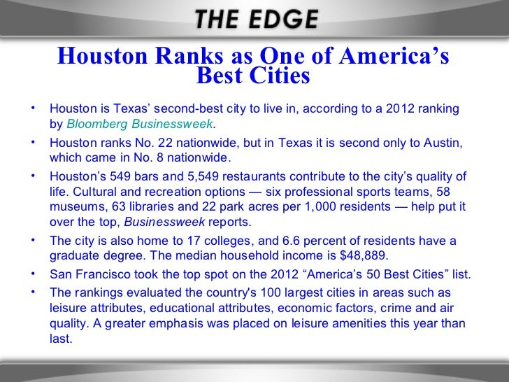 Houston Ranks as One of America's                Best Cities•   Houston is Texas' second-best city to live in, according t...