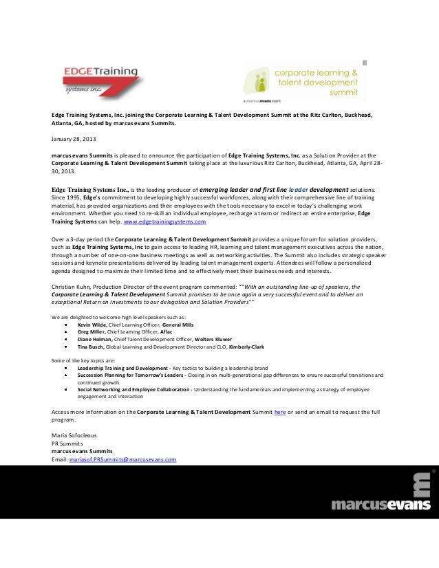 Edge Training Systems, Inc. joining the Corporate Learning & Talent Development Summit at the Ritz Carlton, Buckhead,Atlan...