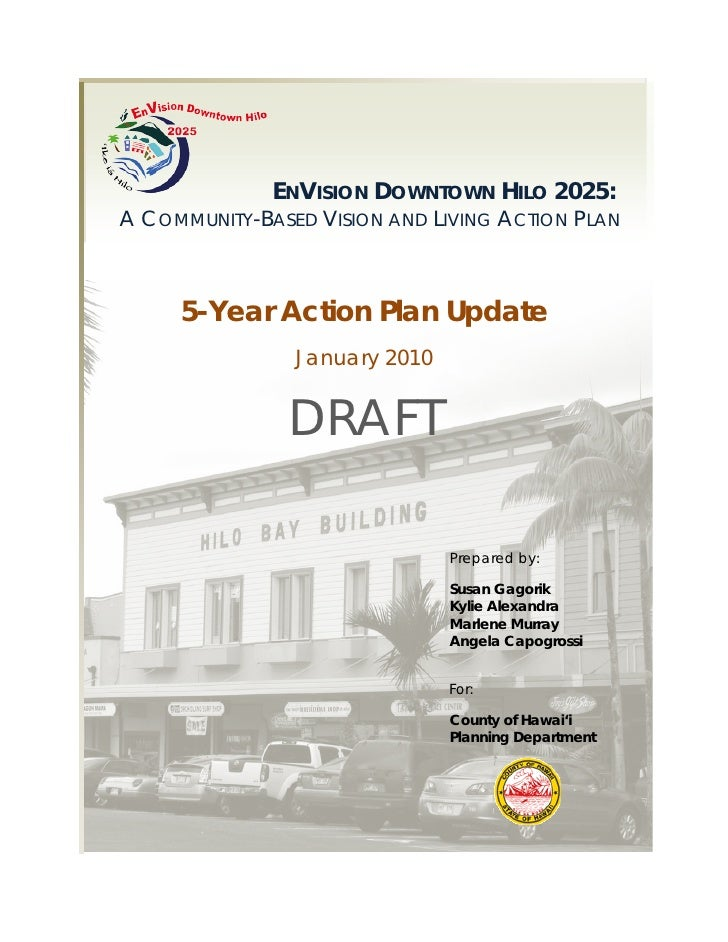 Draft: EnVision Downtown Hilo 2025: 5-Year Action Plan Update