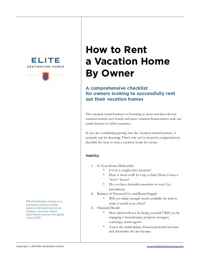 How To Rent A Vacation Home By Owner