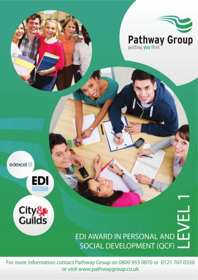 EDI Award in Personal and Social Development Level 1 (QCF)