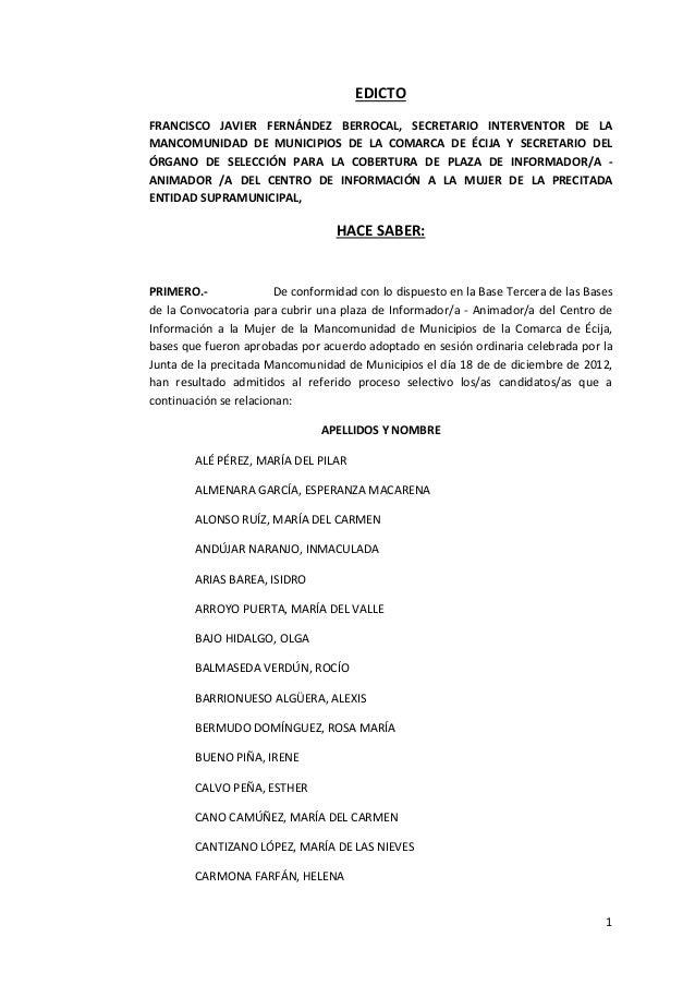 EDICTOFRANCISCO JAVIER FERNÁNDEZ BERROCAL, SECRETARIO INTERVENTOR DE LAMANCOMUNIDAD DE MUNICIPIOS DE LA COMARCA DE ÉCIJA Y...