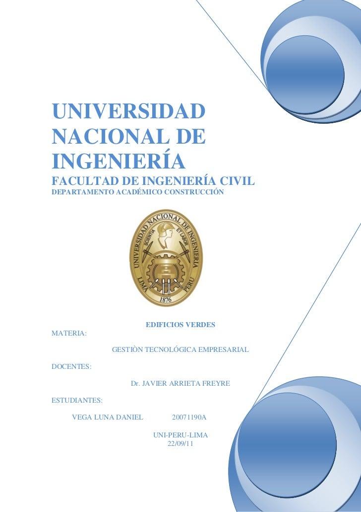 UNIVERSIDADNACIONAL DEINGENIERÍAFACULTAD DE INGENIERÍA CIVILDEPARTAMENTO ACADÉMICO CONSTRUCCIÓN                       EDIF...