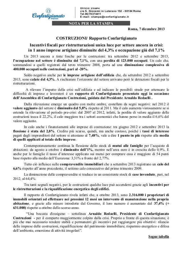 U FFIC IO STAM PA via S. Giovanni in Laterano 152 - 00184 Roma Tel.06/70374411 E - ma i l : s t a mp a @c o n f a r t i g ...