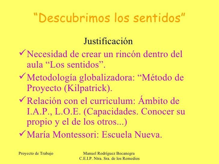 Ed.Infantil.Manuel Rodríguez. C. Integrado. Descubrimos los sentidos