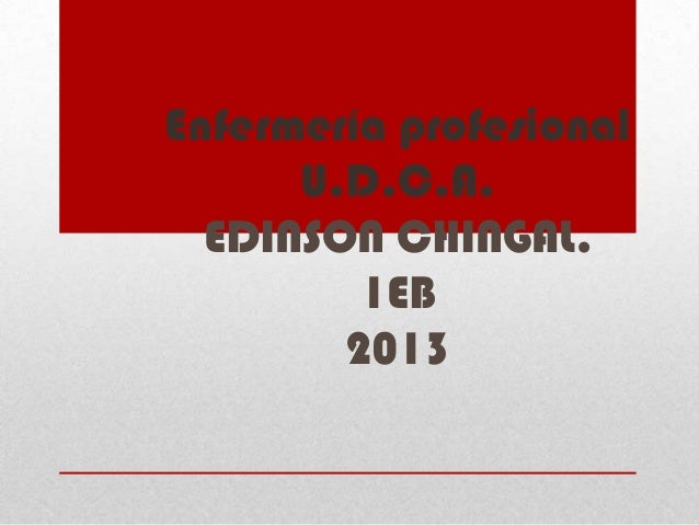 Enfermería profesional      U.D.C.A.  EDINSON CHINGAL.         1EB        2013