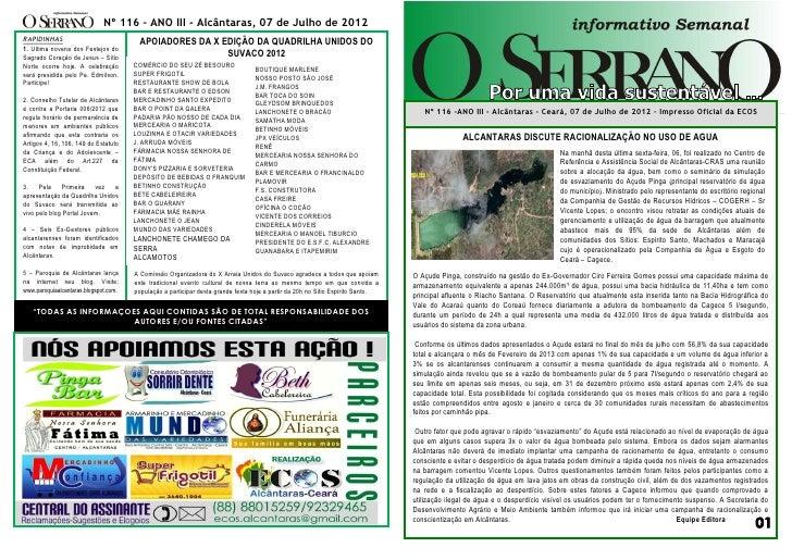 Nº 116 – ANO III - Alcântaras, 07 de Julho de 2012RAPIDINHAS                              APOIADORES DA X EDIÇÃO DA QUADRI...