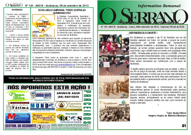 Nº 125 – ANO III - Alcântaras, 08 de setembro de 2012         RAPIDINHAS                         ECOS LANÇA CAMPANHA: TODO...