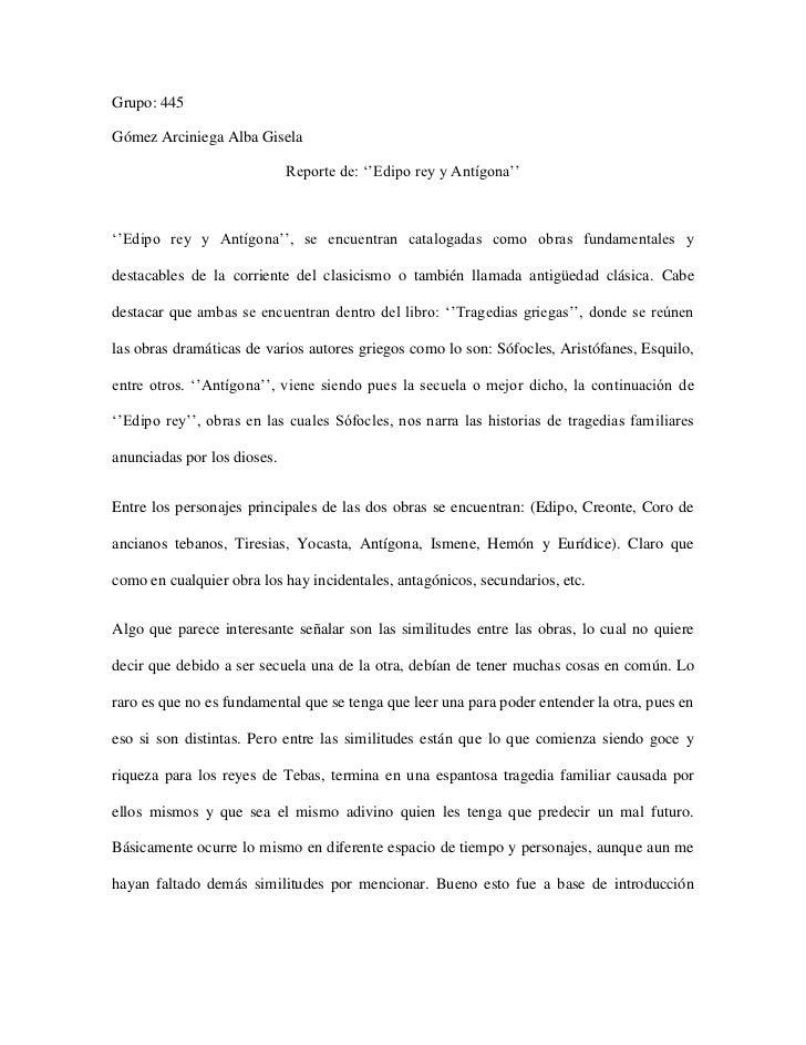 Grupo: 445<br />Gómez Arciniega Alba Gisela<br />Reporte de: ''Edipo rey y Antígona''<br />''Edipo rey y Antígona'', se en...