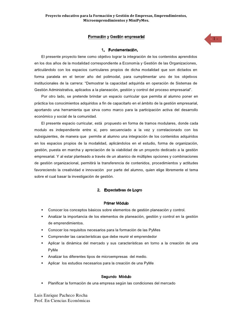 Proyecto educativo para la Formación y Gestión de Empresas, Emprendimientos,                             Microemprendimien...
