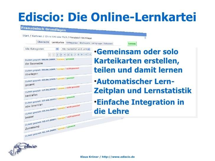Ediscio: Die Online-Lernkartei                     ●                     Gemeinsam oder solo                    Karteikart...