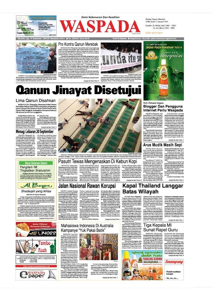 WASPADA  Selasa  15 September 2009                                                                                        ...