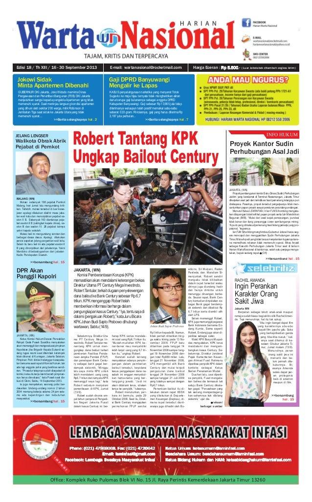 1Edisi 18 / Th XIII / 16 - 30 September 2013 INFO HUKUM JAKARTA, (WN) Proyek pembangunan kantor Suku Dinas (Sudin) Perhubu...