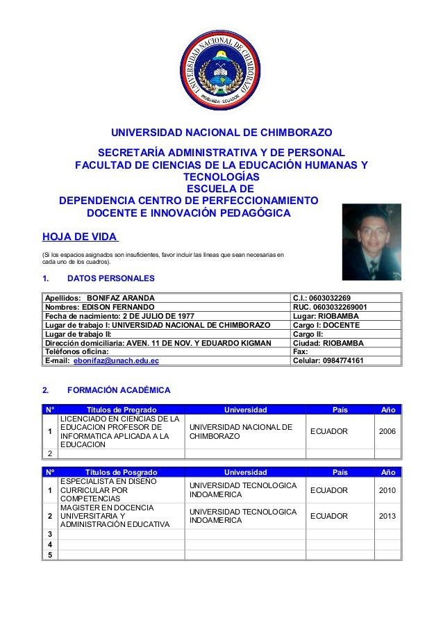 UNIVERSIDAD NACIONAL DE CHIMBORAZOSECRETARÍA ADMINISTRATIVA Y DE PERSONALFACULTAD DE CIENCIAS DE LA EDUCACIÓN HUMANAS YTEC...