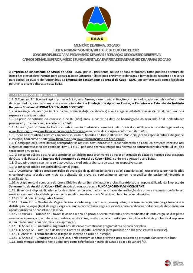 MUNICÍPIO DE ARRAIAL DO CABO                              EDITAL NORMATIVO Nº 001/2012 DE 30 DE OUTUBRO DE 2012           ...