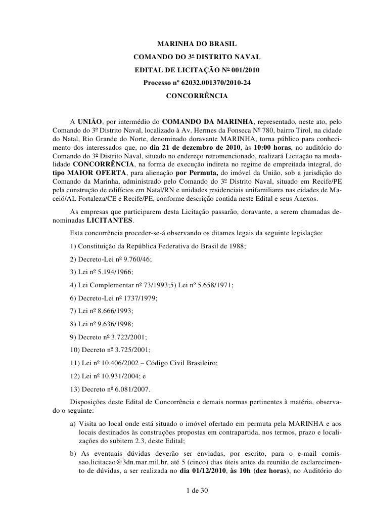 MARINHA DO BRASIL                             COMANDO DO 3º DISTRITO NAVAL                             EDITAL DE LICITAÇÃO...