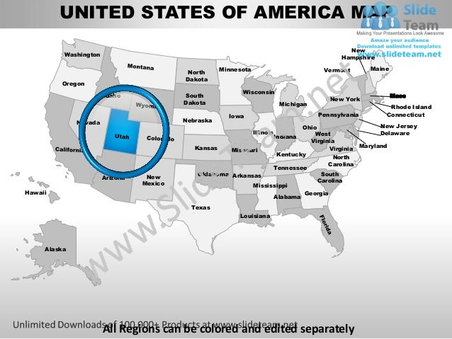Editable vector business usa utah state and county powerpoint maps united states of america slides