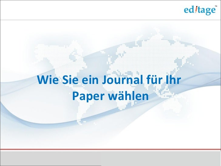 Wie Sie ein Journal für Ihr Paper wählen