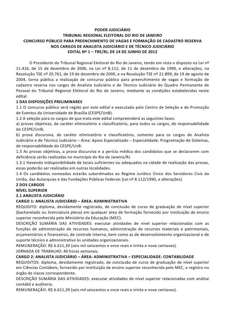 PODER JUDICIÁRIO                    TRIBUNAL REGIONAL ELEITORAL DO RIO DE JANEIRO    CONCURSO PÚBLICO PARA PREENCHIMENTO D...