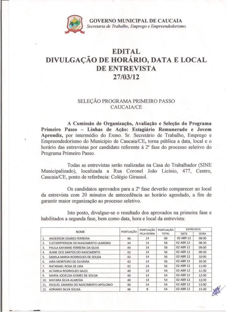 Edital - Divulgação de Horário, Data e Local da Entrevista
