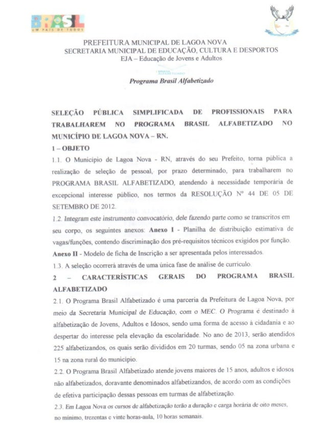 Edital Brasil Alfabetizado