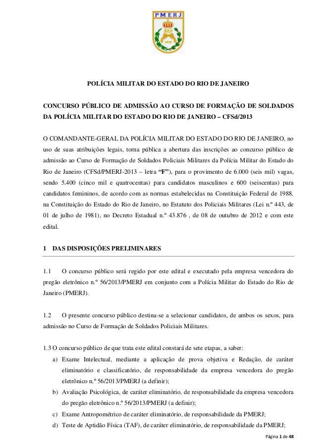 Página 1 de 48 POLÍCIA MILITAR DO ESTADO DO RIO DE JANEIRO CONCURSO PÚBLICO DE ADMISSÃO AO CURSO DE FORMAÇÃO DE SOLDADOS D...