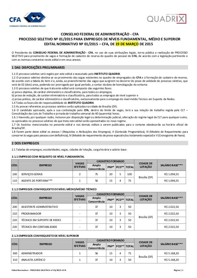 Edital Normativo – PROCESSO SELETIVO nº 01/2015–CFA Página | 1 CONSELHO FEDERAL DE ADMINISTRAÇÃO - CFA PROCESSO SELETIVO N...