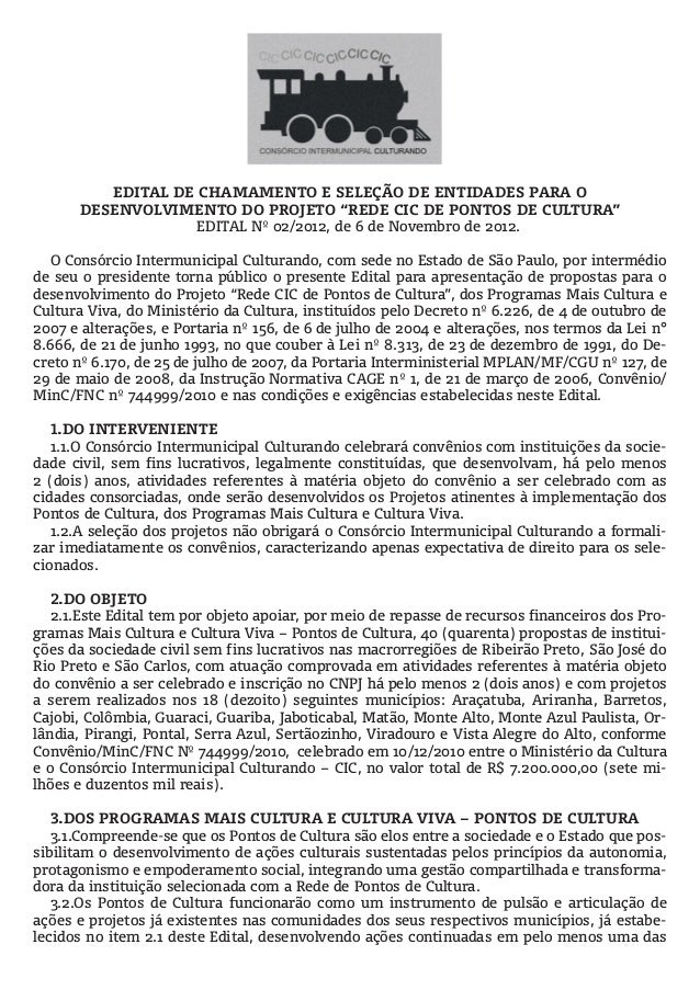 Edital Ponto de Cultura - Araçatuba