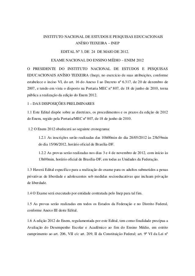 Edital do Exame Nacional do Ensino Médio