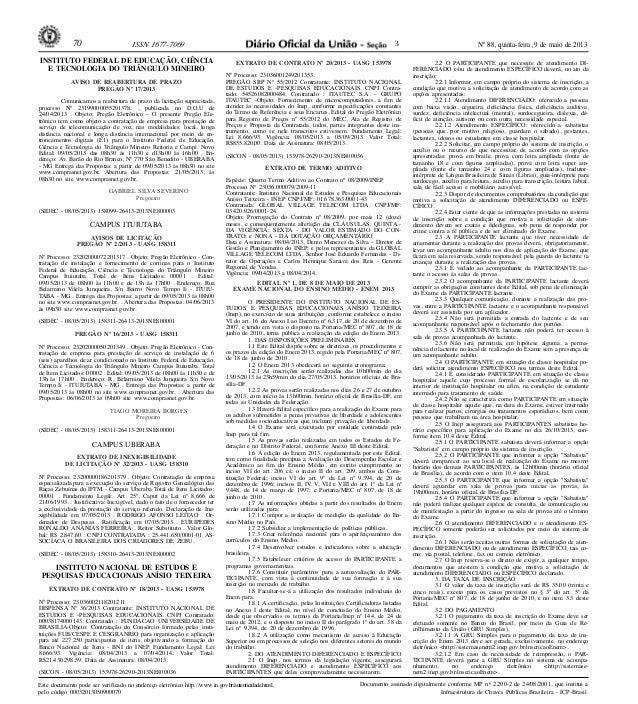 Nº 88, quinta-feira, 9 de maio de 201370 ISSN 1677-7069Este documento pode ser verificado no endereço eletrônico http://ww...