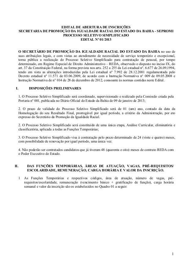 EDITAL DE ABERTURA DE INSCRIÇÕES      SECRETARIA DE PROMOÇÃO DA IGUALDADE RACIAL DO ESTADO DA BAHIA - SEPROMI             ...