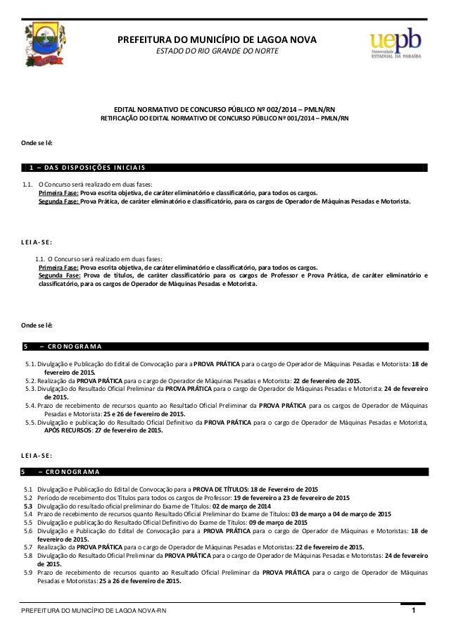 PREFEITURA DO MUNICÍPIO DE LAGOA NOVA-RN 1  PREFEITURADOMUNICÍPIODELAGOANOVA ESTADODORIOGRANDEDONORTE    ...