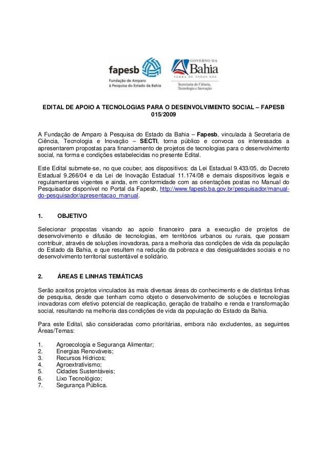 Edital 0152009 Apoio Tecnologias Para Desenvolvimento Social