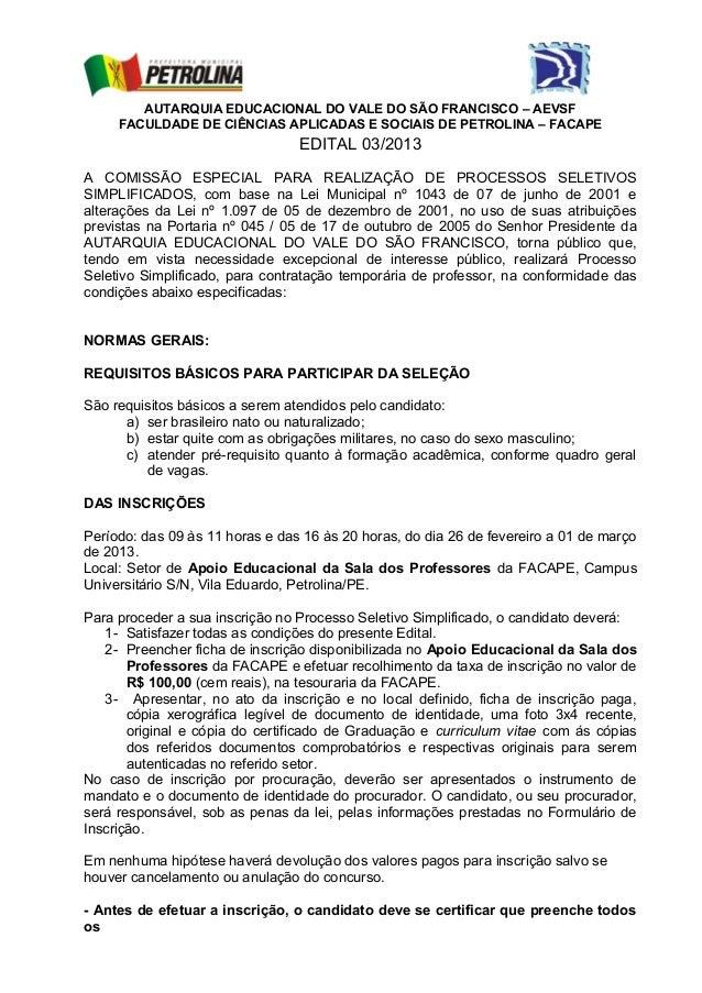 AUTARQUIA EDUCACIONAL DO VALE DO SÃO FRANCISCO – AEVSF     FACULDADE DE CIÊNCIAS APLICADAS E SOCIAIS DE PETROLINA – FACAPE...