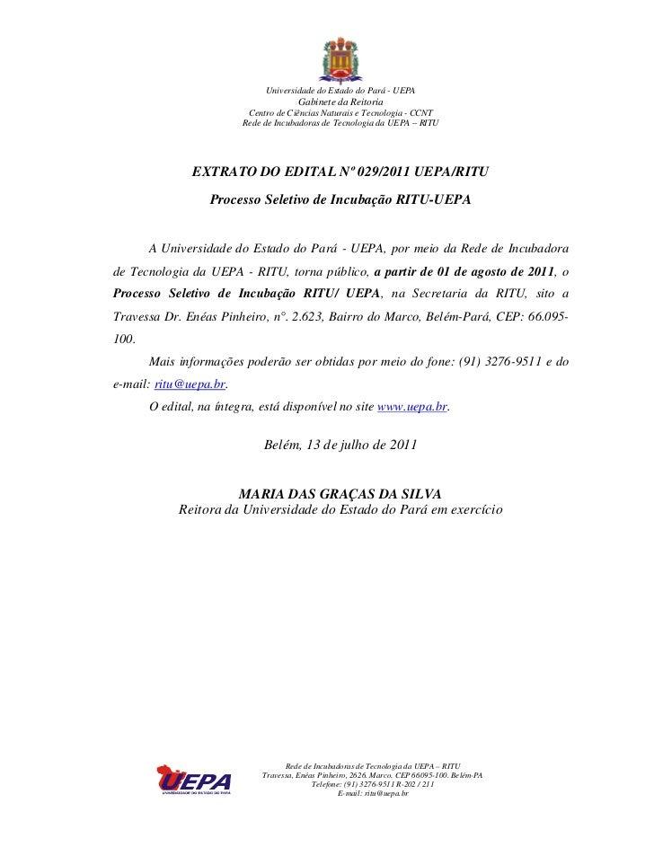 Universidade do Estado do Pará - UEPA                                       Gabinete da Reitoria                          ...